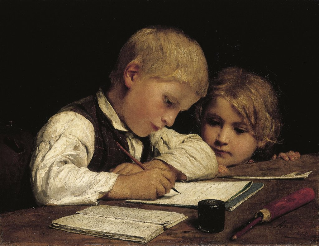 A Boy Writing. Schreibender Knabe Mit Schwesterchen. Albert Anker (1831-1910). Oil On Canvas, 1875.   45 X 58 Cm Painted In 1875 : Stock Photo