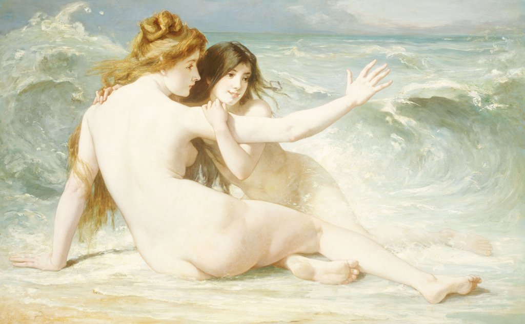 Stock Photo: 866-6012 Sea Nymphs. Albert Laurens (B. 1864). Oil On Canvas.