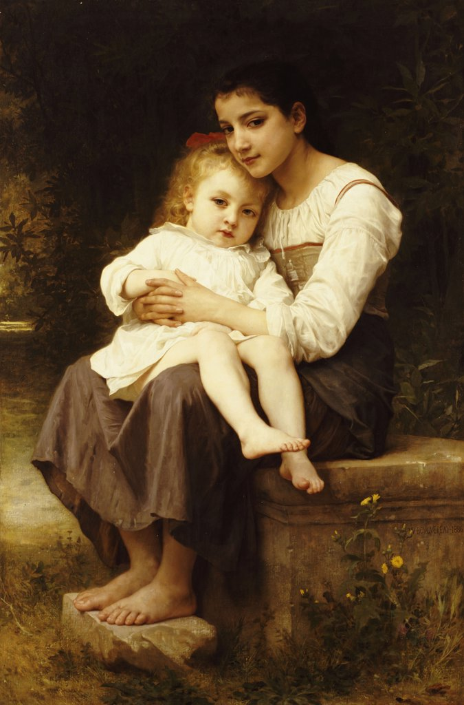 Stock Photo: 866-6018 The Eldest Sister. La Soeur Aine.  William Adolphe Bouguereau (1825-1906). Oil On Canvas, 1886. Catalogue No. 637c.