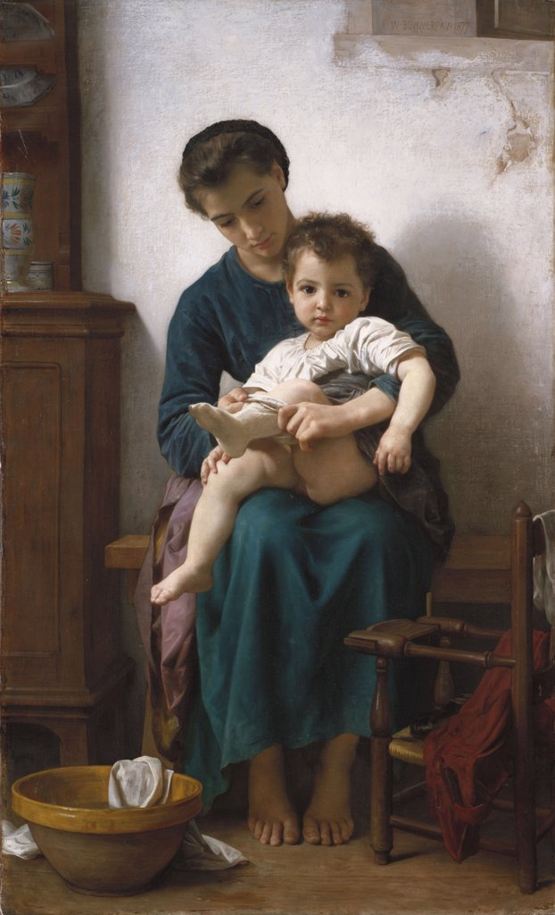 Stock Photo: 866-6020 The Elder Sister, La Grande Soeur.  William Adolphe Bouguereau (1825-1905). Oil On Canvas, 1877.