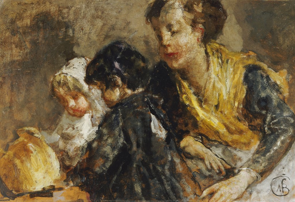 Stock Photo: 866-6027 A Mother And Children.  Mose Bianchi (1840-1904). Oil On Board, 1864.