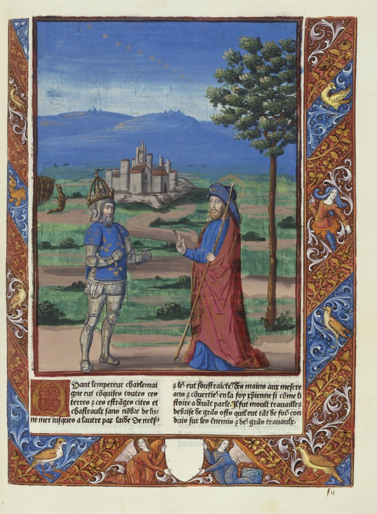 Stock Photo: 866-6079 Chroniques de France. Charlemagne's vision of St. James the Great in a landscape. Paris: Jean Morand for Antoine Verard, 9th July-10th September 1493. Woodcut on vellum, 240 x 170mm.
