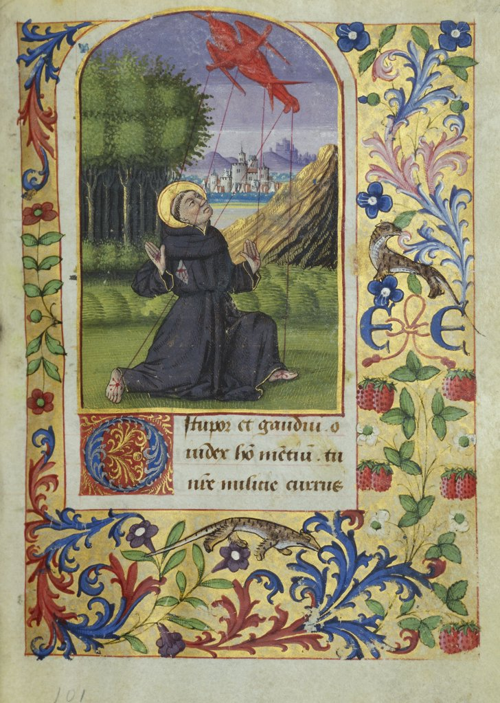 Stock Photo: 866-6082 Book of Hours, in Latin and French. St.Francis kneeling in a landscape receiving the stigmata from a seraph above. Illuminated manuscript on vellum, for Etienne Chevalier. Tours, Master of Jean Charpentier, after 1470. 128 x 97mm.