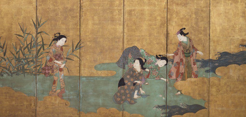 One of a pair of six-leaf screens depicting a group of three young women and an actor collecting shells. Sumi, colour and gofun on gold ground. 18th century, each leaf approx. 121.5 x 43cm. : Stock Photo