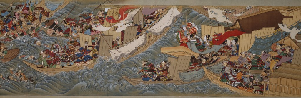 Stock Photo: 866-6088 The conquest of Korea by Empress Jingu. Sumiyoshi Hiroyuki (1755-1811). Manuscript, ink on silk, illustrations in ink, gofun and colour on silk, endpapers on brocade.