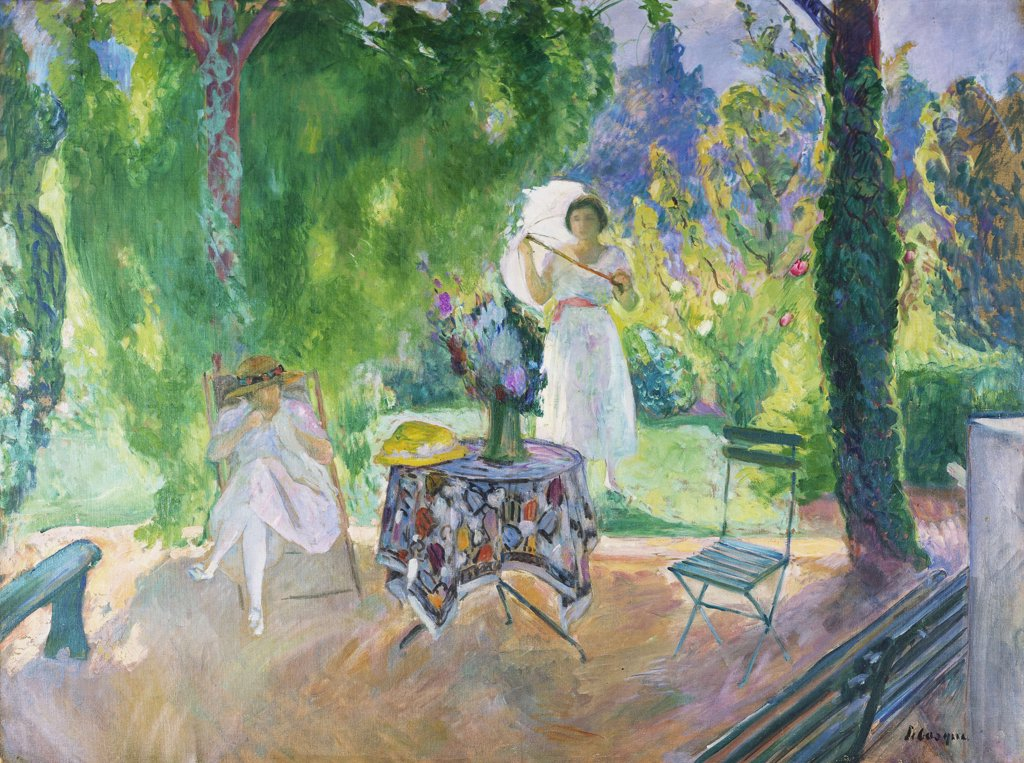 Stock Photo: 866-6102 The Dinner; Le Dejeuner. Henri Lebasque (1865-1937). Oil on canvas, 98 x 131cm.