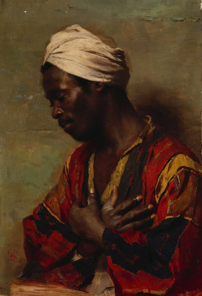 An Arab In Meditation. Carl Ludwig Ferdinand Kerstan. Oil on canvas. : Stock Photo