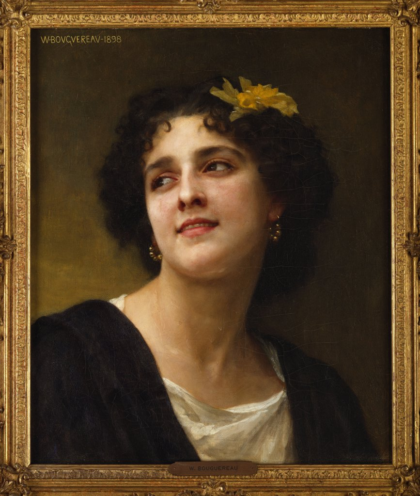 A Dark Beauty. William Adolphe Bouguereau (1825-1905). Oil on canvas. : Stock Photo
