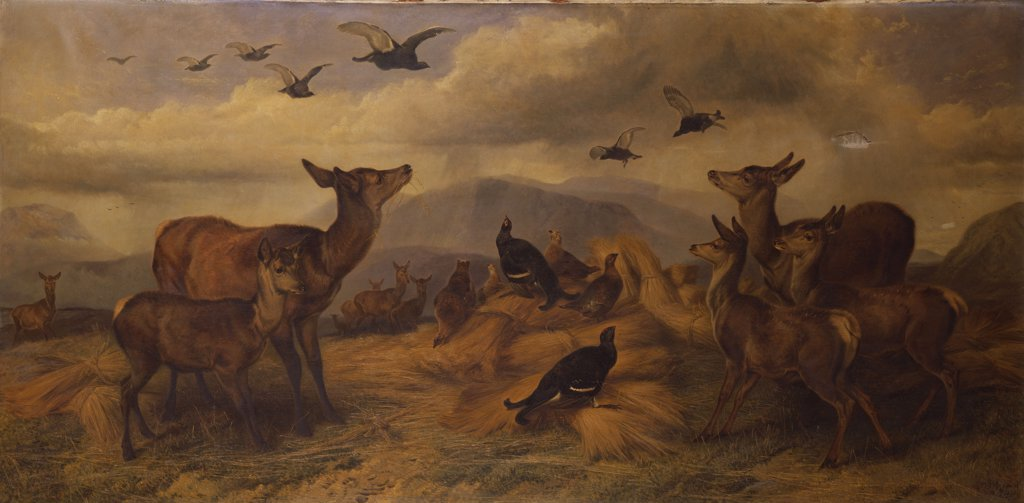 Stock Photo: 866-6139 The Shepherd's Corn. Richard Ansdell, R.A. (1815-1885). Oil on canvas, 35 1/2 X 71 1/2in.