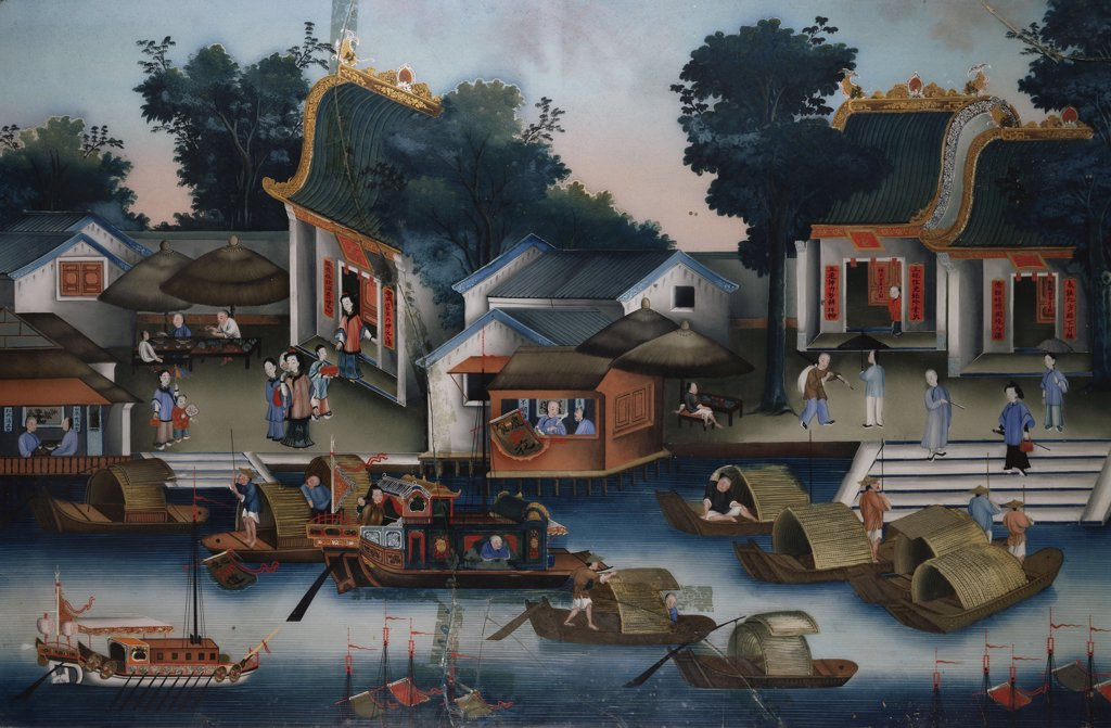 Stock Photo: 866-7319 A Chinese reverse glass painting depicting figures in Sampans and other boats. 19th century.