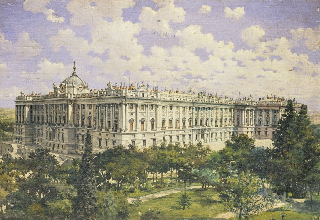 Stock Photo: 866-7341 The Royal Palace, Madrid.  Hastoy (late 19th century). Oil on board, 13 x 18in.