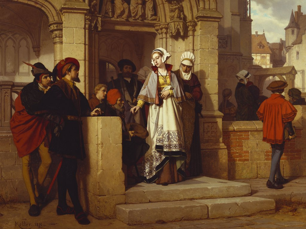 Stock Photo: 866-7344 Faust and Mephistopheles waiting for Gretchen at the Cathedral Door. Wilhelm Koller (1829-1884). Dated 1870, oil on panel, 74 x 100cm.