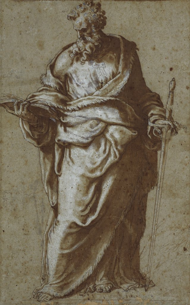 Saint Paul, and a Subsidiary Study of his Head. Giuseppe Porta, Il Salviati (1520-After 1570). Black chalk, pen and brown ink, brown wash heightened with white (partly oxidized), on blue paper, 292 x 175mm. : Stock Photo