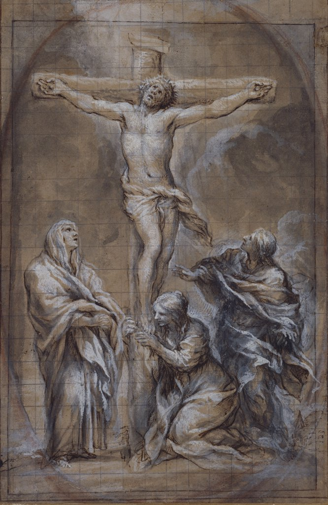 Christ on the Cross with the Virgin Mary, Saint John and the Magdalen. Pietro Berrettini da Cortona  (1596-1669). Black chalk, pen and brown ink, grey wash heightened with white (partly oxidized), squared in black lead, an oval drawn in black chalk, on light brown paper, 403 x 265mm. : Stock Photo