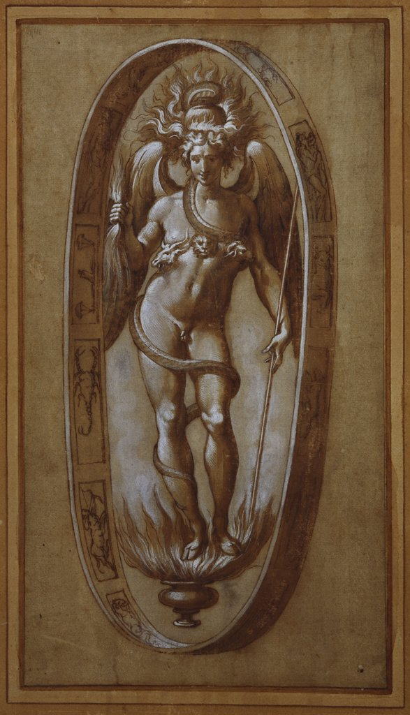 Stock Photo: 866-7355 Phanes. Francesco de Rossi, Il Salviati (1510-63). Black chalk, pen and brown ink, brown wash heightened with white (partly oxidized), on light brown paper, 289 x 157mm.