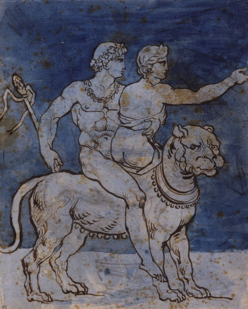 Bacchus and Ariadne seated on a Leopard. Theodore Gericault (1791-1824). Black chalk, pen and brown ink, two shades of blue wash, 265 x 212mm. : Stock Photo
