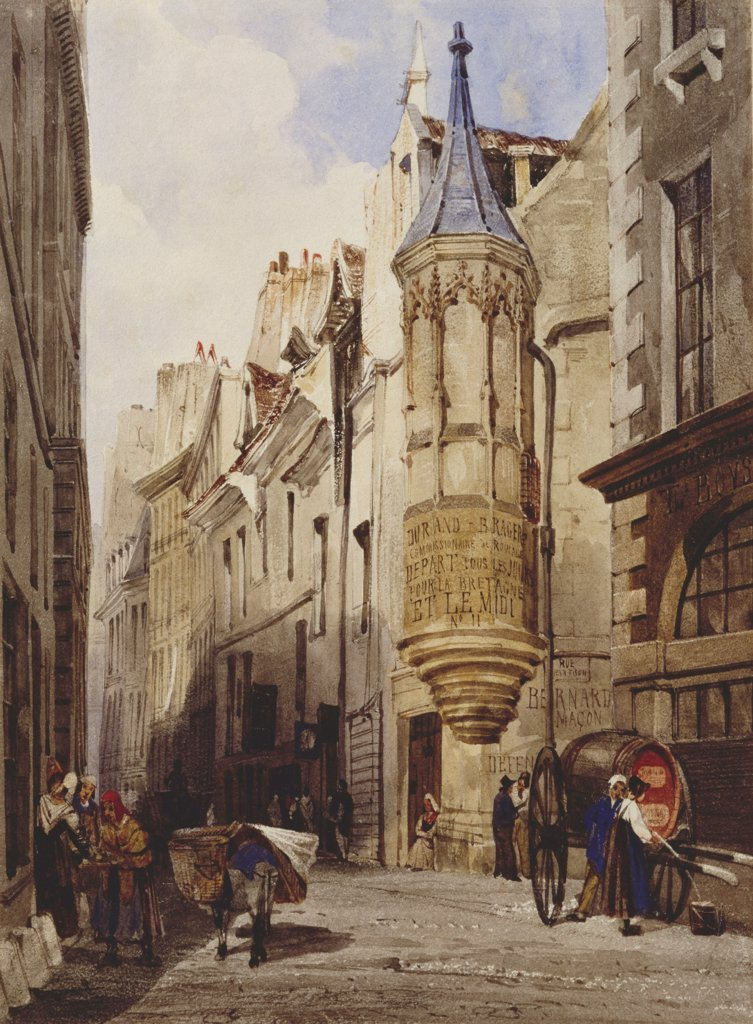 Stock Photo: 866-7364 Maison de l'Amiral Coligny rue Bailleul Paris. Thomas Shotter Boys (1803-1908). 1831, pencil and watercolour heightened with bodycolour, 26.5 x 20.8cm.