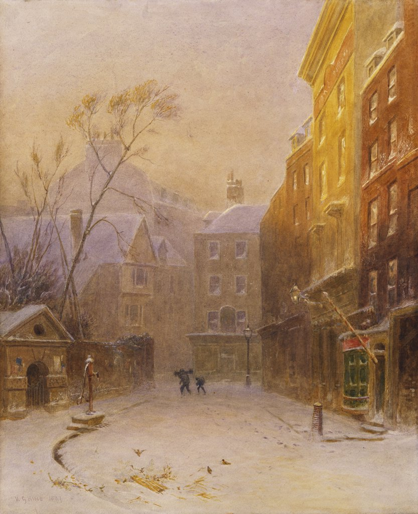 Stock Photo: 866-7365 Figures crossing a back street in London, early morning, winter. Henry George Hine (1811-1895). Watercolour heightened with white, 1887, 55.2 x 44.8cm.