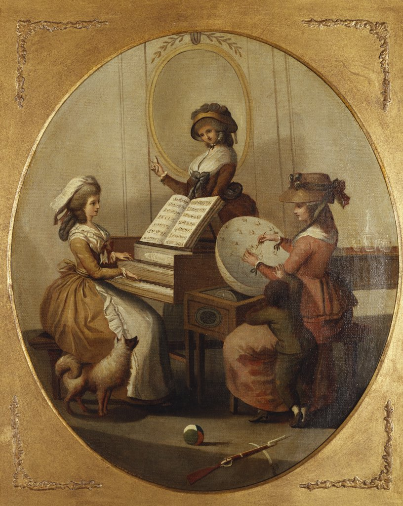 Stock Photo: 866-7380 Morning Employments': Three Young Girls by a Spinet, Playing, Conducting and Embroidering. Attr. to Henry William Bunbury (1750-1811). Oil on oval canvas, 47.6 x 40.3cm.