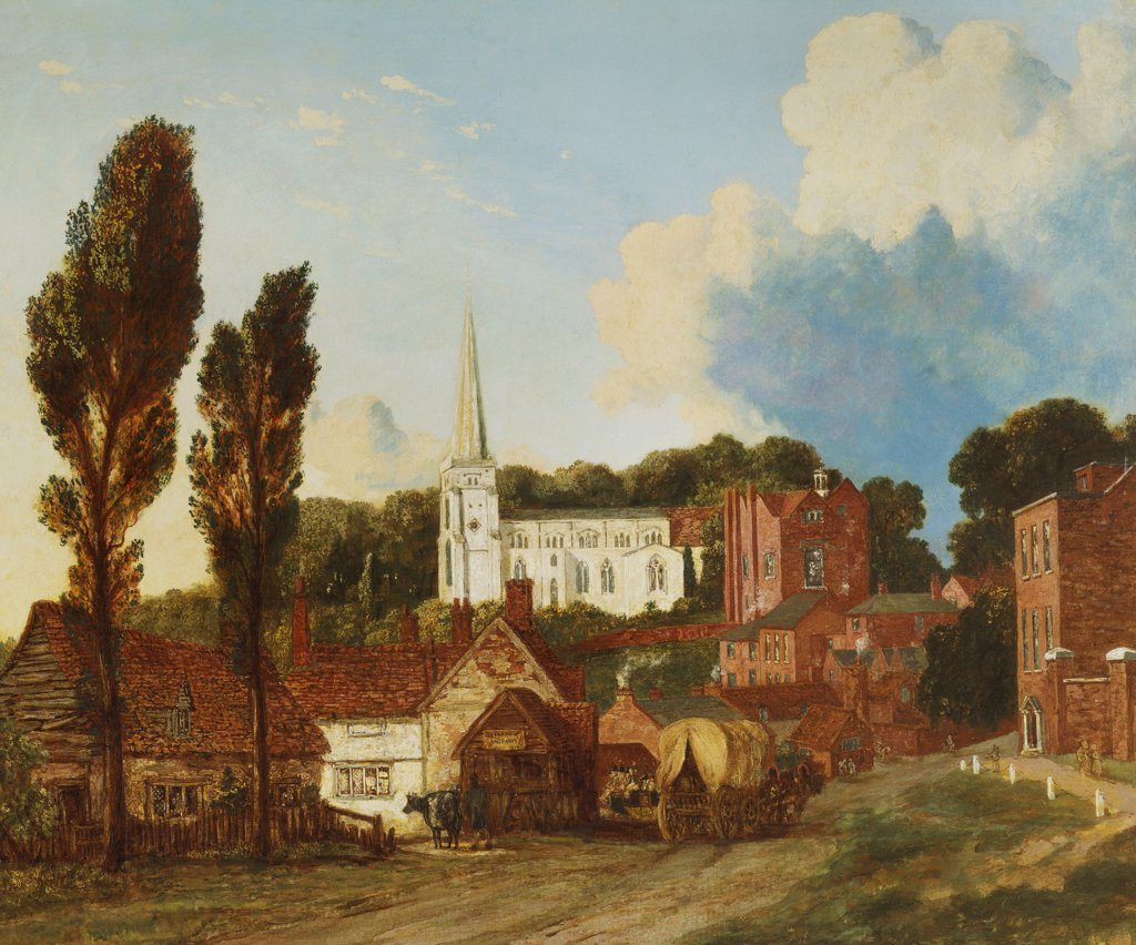 A View of Harrow, with St. Marys Church and the old schools building and yard. Attrib. to George  Clint (1770-1854). Dated 1813, oil on canvas, 63.5 x 78.8cm. : Stock Photo