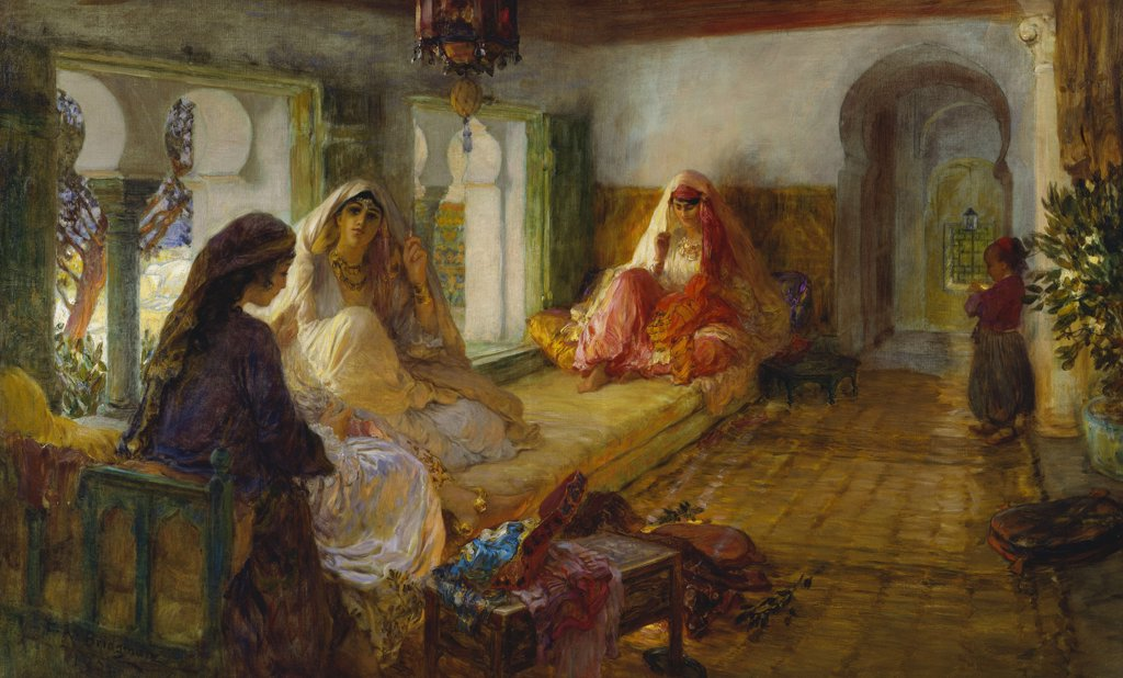 Stock Photo: 866-7398 In the Seraglio. Frederick Arthur Bridgman (1847-1928). Oil on canvas, 1901. 59.4 x 96.5cm.