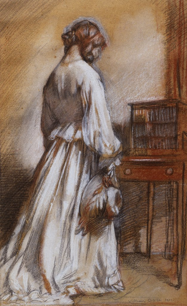 Stock Photo: 866-7410 An Interior, Chelsea. Sir William Orpen, R.A., R.H.A., (1878-1931). Dated 1901, coloured chalk, charcoal, and pencil on light paper, 43 x 27cm.
