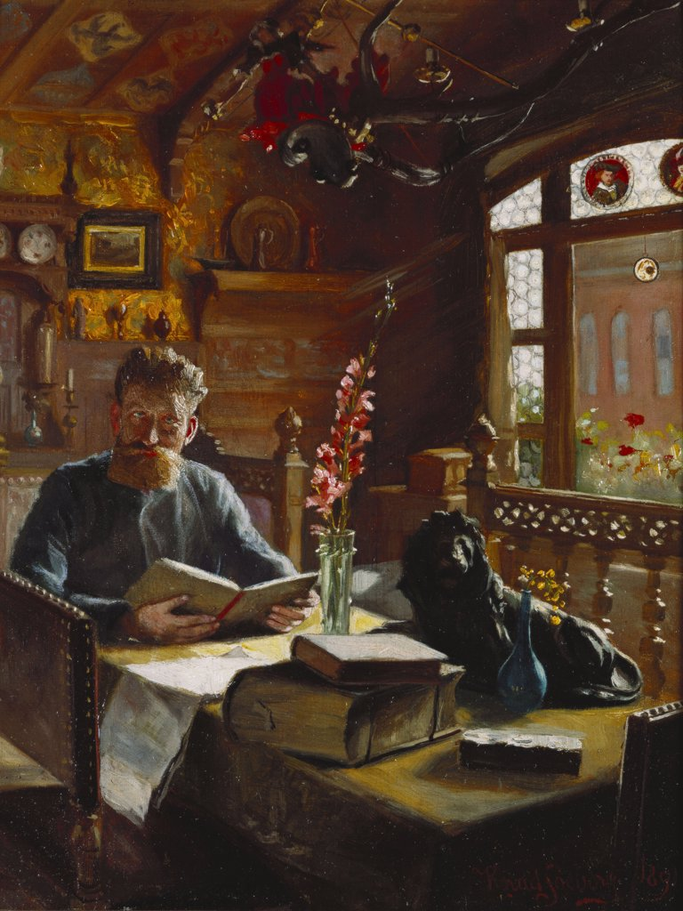 Stock Photo: 866-7485 A Man Reading in an Interior.  Knud Christian Soeborg (1861-1906). Oil on canvas, dated 1891, 40.8 x 33cm.