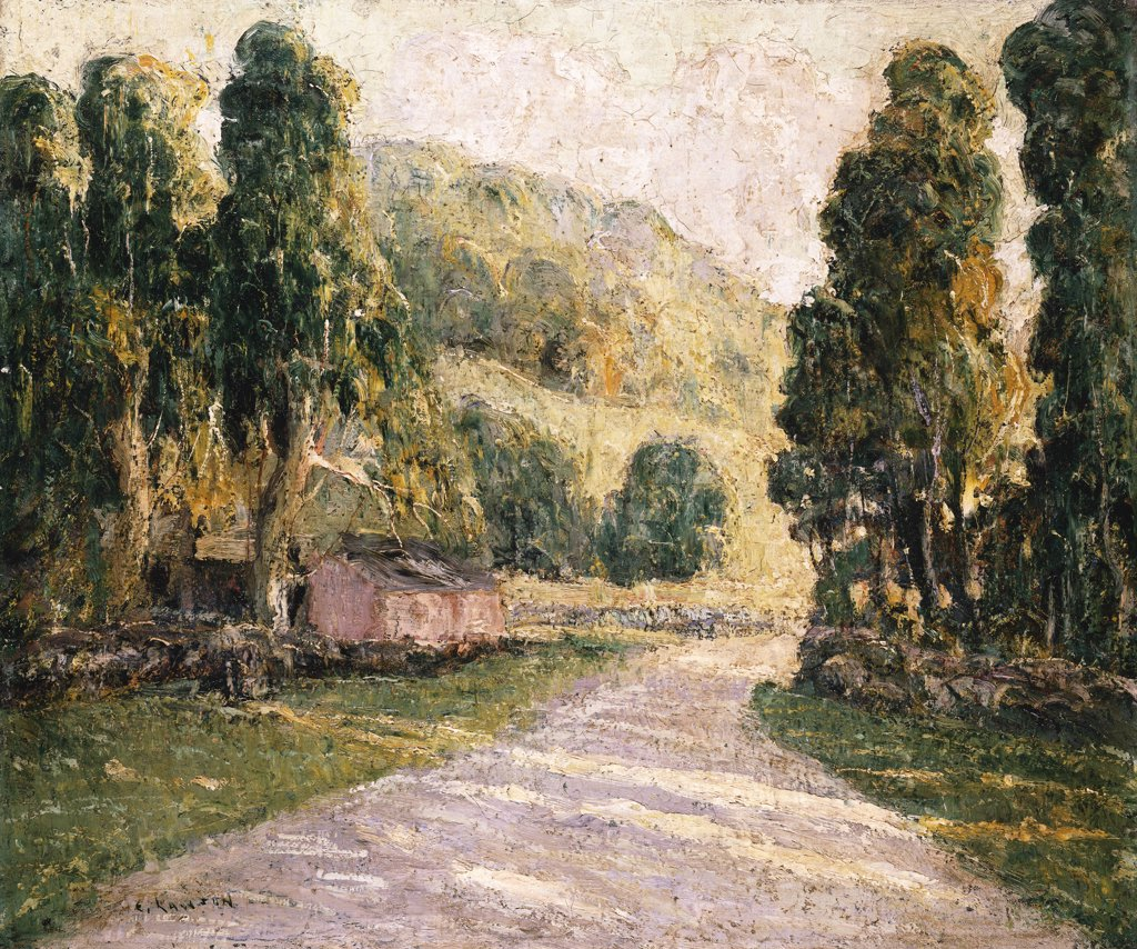 Stock Photo: 866-7510 The Country Road. Ernst Lawson (1873-1939). Oil On Canvas Laid Down On Board.