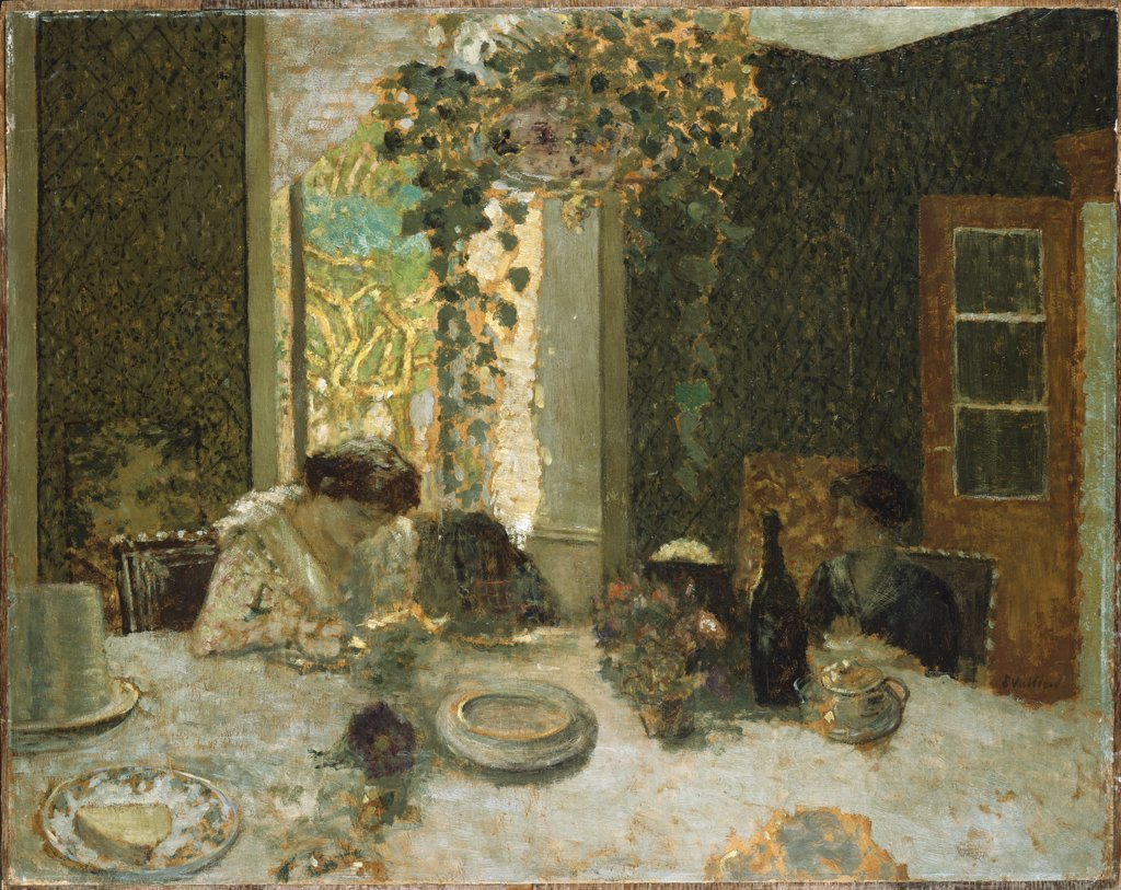 Stock Photo: 866-7586 The Dining Room. La Salle A Manger. Edouard Vuillard (1868-1940). Oil On Board Laid Down On Cradled Panel, Circa, 1900.