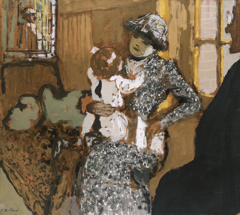 Stock Photo: 866-7617 Child In A White Apron. L'Enfant Au Tablier Blanc. Edouard Vuillard (1868-1940).Oil On Brown Paper Laid Down On Canvas, Circa, 1910.