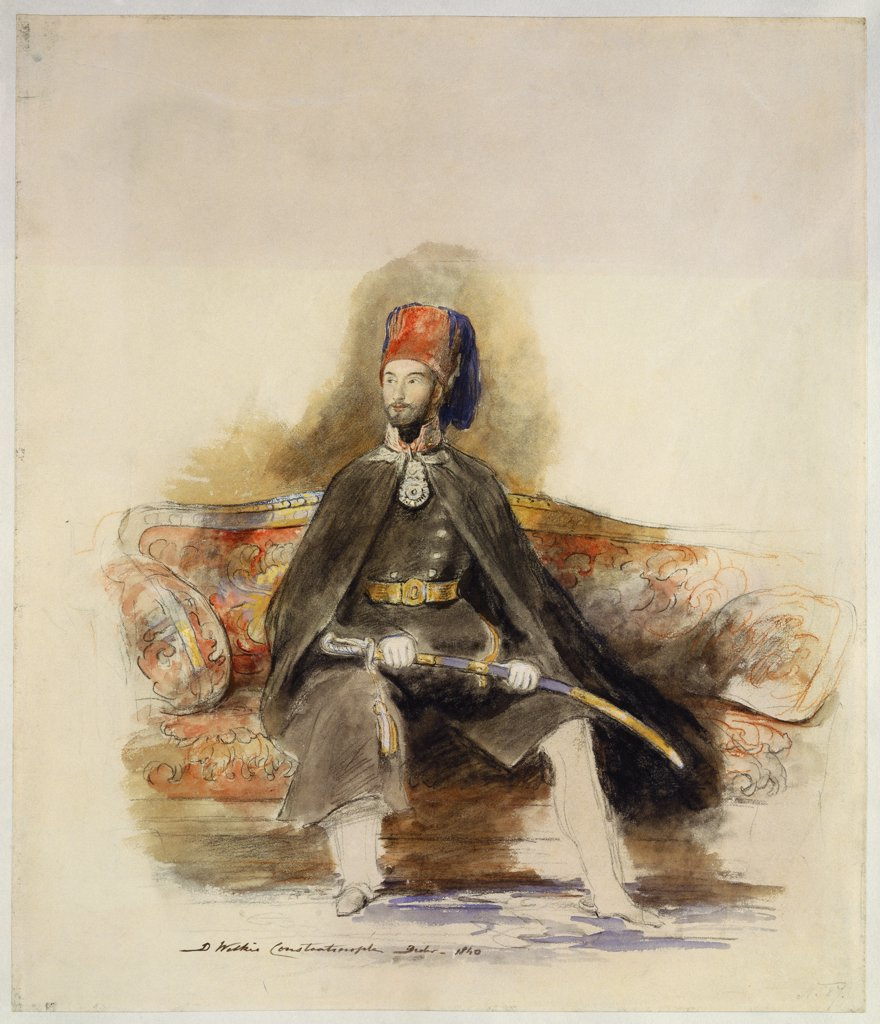 Portrait of Abu-ul-mejid Sultan of Turkey seated full length in military dress wearing the Order of Glory holding a ceremonial sword and sitting on a red damask sofa. Sir David Wilkie, R.A. (1785-1841). Pencil, black and red chalk and watercolour heightened with white and gold bodycolour on stone-coloured paper, 15 1/8 x 13in. : Stock Photo
