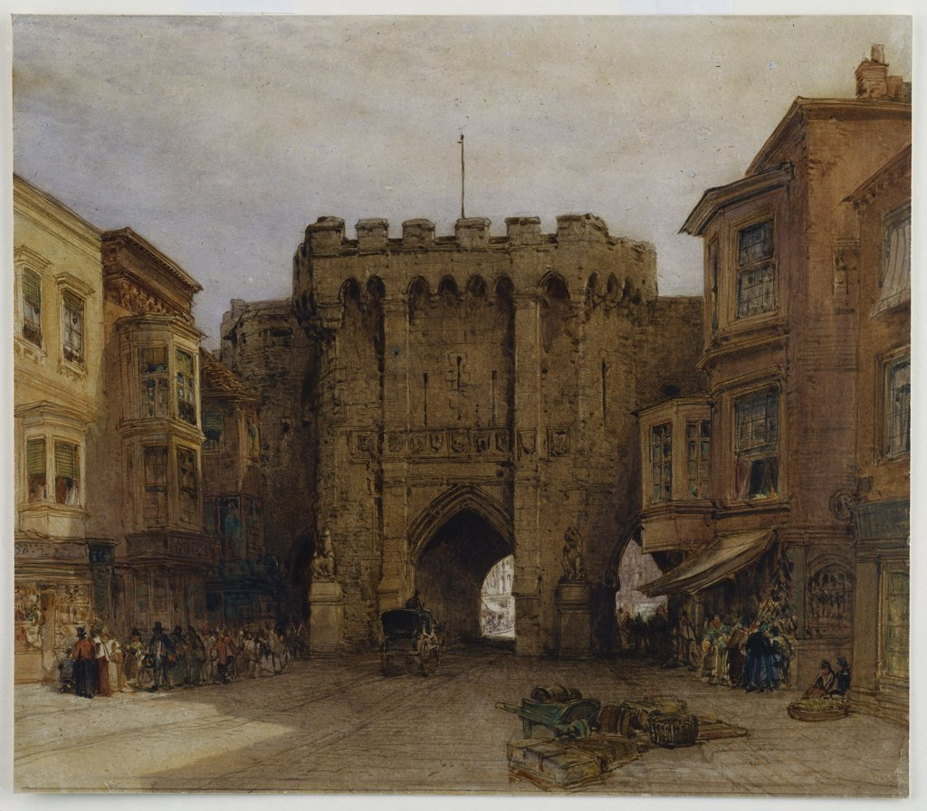Stock Photo: 866-7662 The Bar Gate, Southampton.  William Callow (1812-1908). Dated 1888, watercolour heightened with gum arabic on oatmeal paper, 15 1/2 x 17 3/4in.