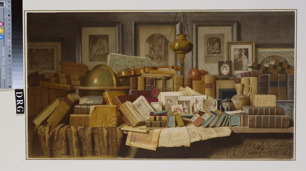 Stock Photo: 866-7663 A Connoisseur's Corner.  Benjamin Walter Spiers (op.1875-1893). Pencil & watercolour with touches of white heightening, 331 x 600mm.