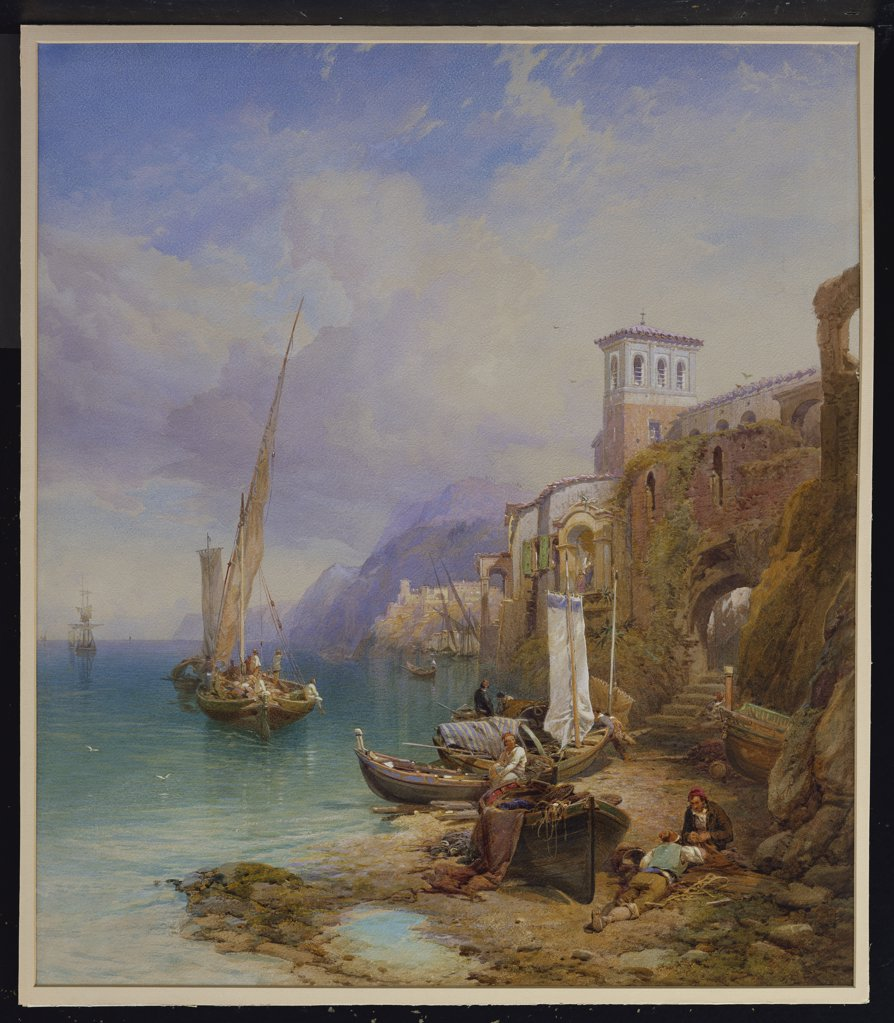 Stock Photo: 866-7677 Ragusa On The Adriatic. Thomas Miles Richardson, Jun. R.S.A. (1813-1890). Dated 1867, Pencil, Pen And Ink And Watercolour Heightened With White, 29 3/4 X 25 3/4in.