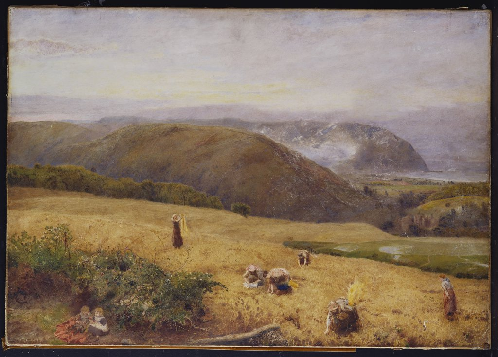 Stock Photo: 866-7678 Gleaners: Coast Of Somerset. John William North, A.R.A. (1842-1924). Dated 1890, Watercolour And Bodycolour, 26 X 37in.