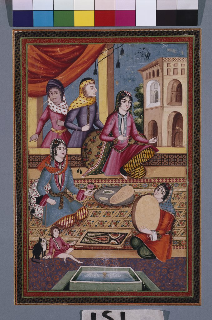 Palace Interior. Gouache on paper. Qajar, Persia, circa 1840, 27.5 x 24.5cm. : Stock Photo