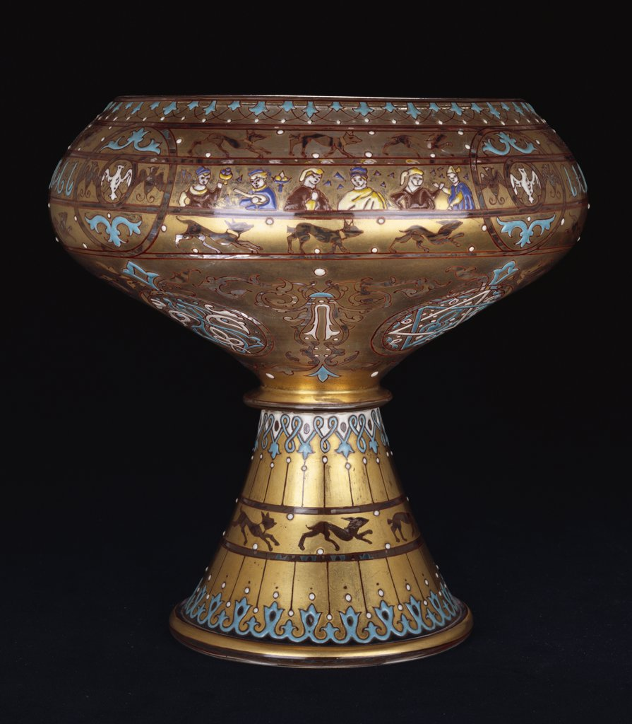Stock Photo: 866-7729 A fine brocaded enamelled glass footed bowl. The exterior enamelled with human figures and running animals. Circa 1860-70, 20.7cm high.