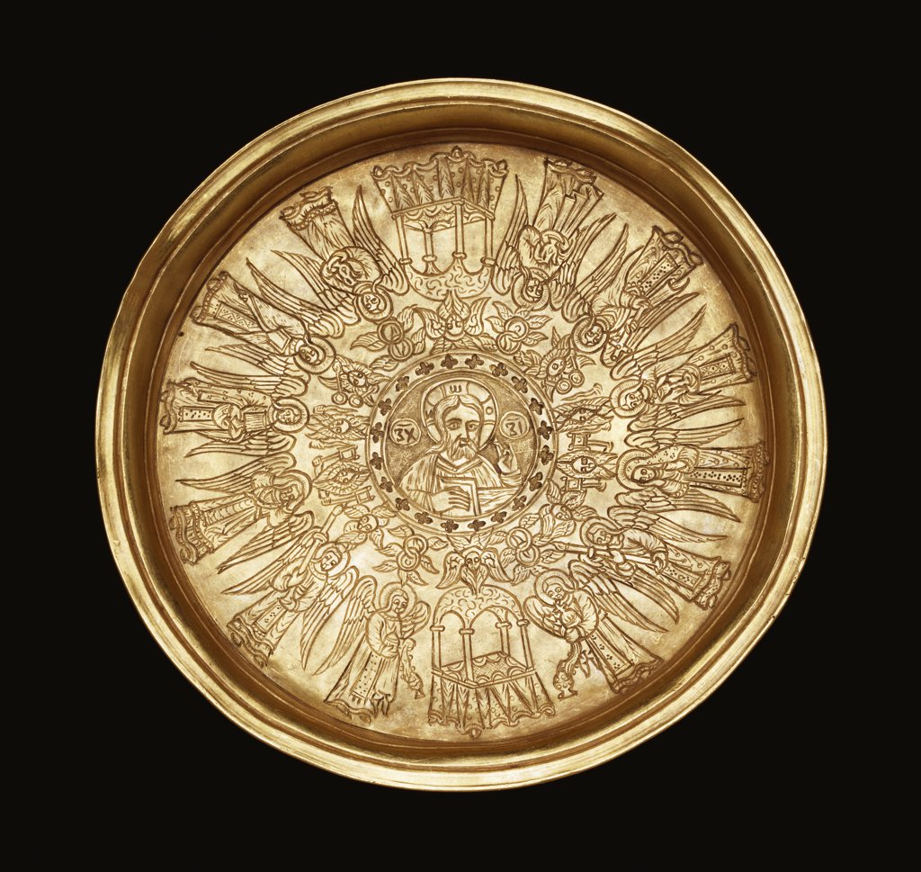 Stock Photo: 866-7730 A gold engraved paten. The centre with a roundel containing the figure of Christ bordered by a narrow band of quatrofoils, surrounded by fourteen cherubim. Probably Greek Orthodox, late 17th/early 18th century, 10.2cm across.