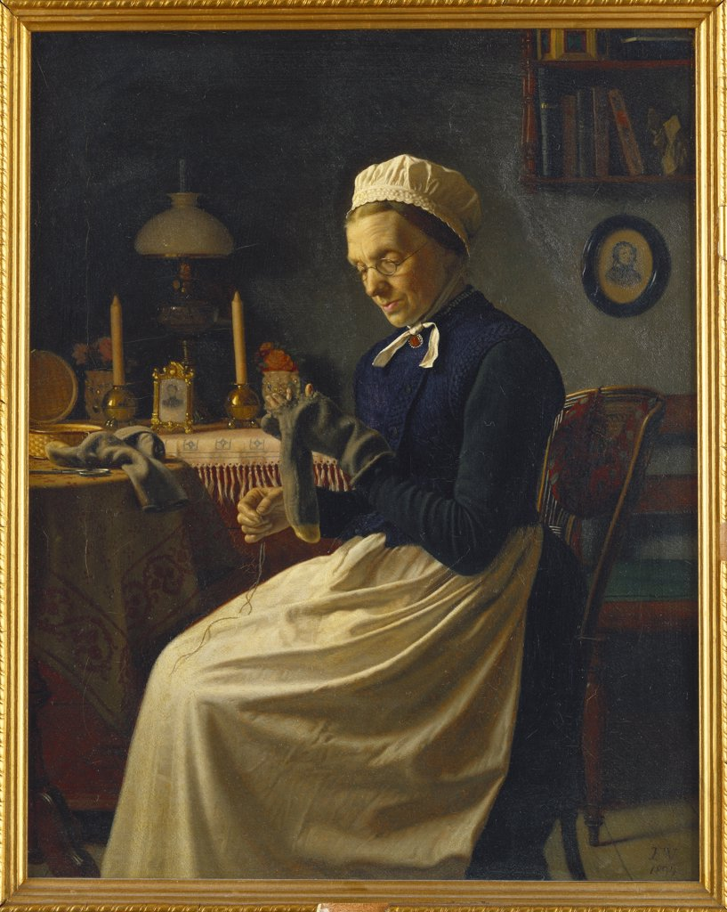 Stock Photo: 866-7793 A Difficult Task. Frits Vermehren (1823-1910). Oil on canvas, dated 1894, 38.5 x 30.5cm.
