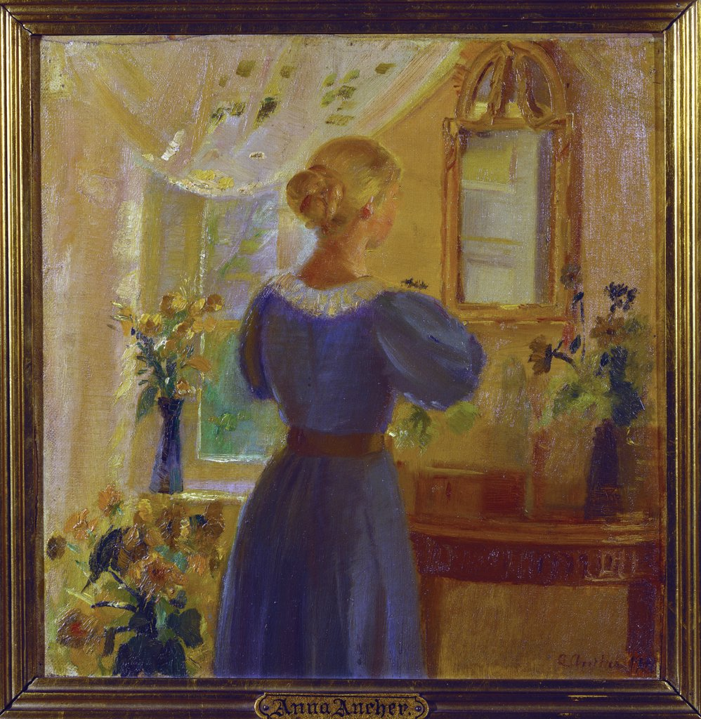 An Interior with a Woman Looking in a Mirror. Anna Ancher (1859-1935). Oil on canvas laid on board, dated 1900, 29 x 28.5cm. : Stock Photo