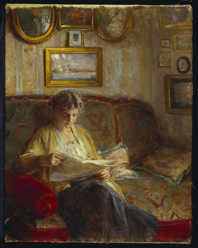 Stock Photo: 866-7815 An Interior with a Woman Reading on a Sofa. Bertha Wegmann (1847-1926). Oil on canvas, 52.7 x 41.5cm.