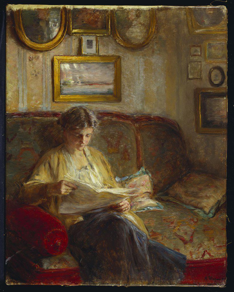 An Interior with a Woman Reading on a Sofa. Bertha Wegmann (1847-1926). Oil on canvas, 52.7 x 41.5cm. : Stock Photo