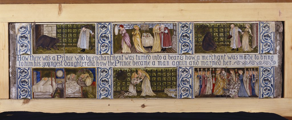 Stock Photo: 866-7837 Beauty and the Beast', a rare and important Morris, Marshall, Faulkner & Co. Tile panel, designed by Sir Edward Burne-Jones (1833-1898) and hand painted by Lucy Faulkner (1839-1910). Six scenes illustrating the fairy tale. Morris, Marshall, Faulkner & co. 35.8cm x 122cm.
