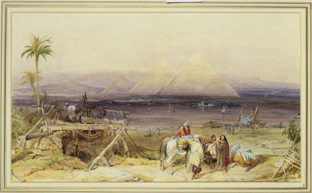 Stock Photo: 866-7842 On the Nile, Egypt. William Clarkson Stanfield, R.A. (1793-1867). Dated 1846, Pencil and watercolour heightened with white, 222 x 368mm.