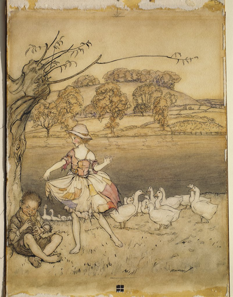 Stock Photo: 866-7862 An Illustration to 'English Fairy Tales': Tattercoats Dancing while the Gooseherd Pipes.  Arthur Rackham (1867-1939).  Pen and black ink and watercolour on card, 10 1/2 x 7 1/4.