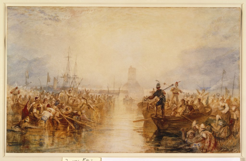 Saint-Vaast-la-Hougue, Normandy. Joseph Mallord William Turner (1775-1851). Pencil and watercolour with gum arabic, heightened with bodycolour. 19.5 x 31.5cm. Executed circa 1826 : Stock Photo