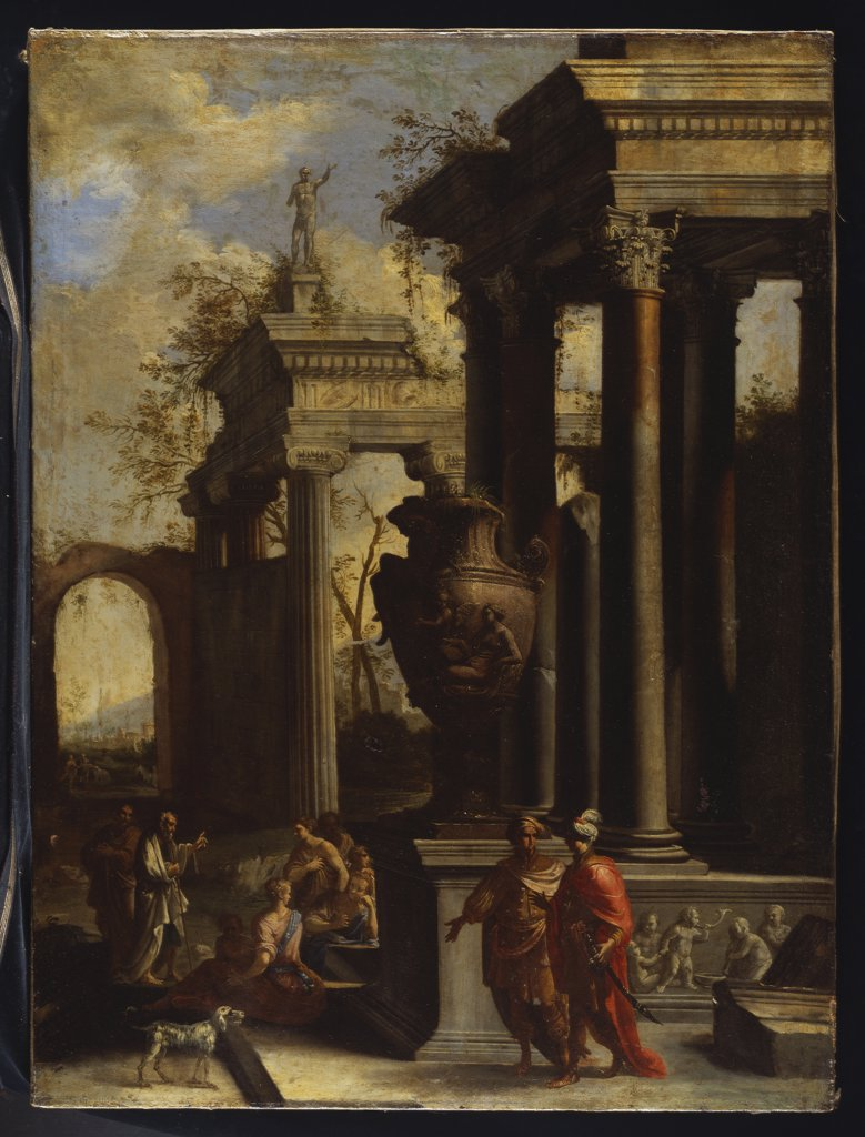 Capricci of Classical Ruins with Water carriers, Philosophers and Noblemen (right panel). Circle of Giovanni Ghisolfi (1623/32-1683). Oil on canvas, 99 x 74.3cm. : Stock Photo