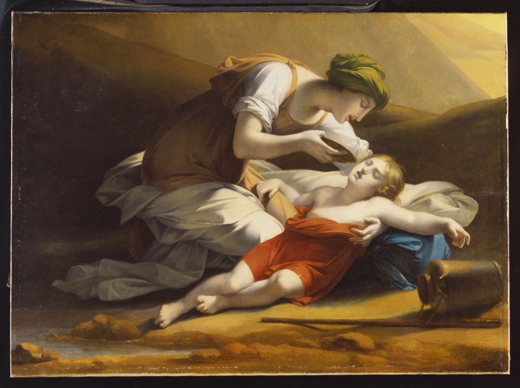 Stock Photo: 866-7869 Hagar giving Ishmael water from the Miraculous Well in the Desert. Charles Paul Landon (1760-1826). Oil on canvas, 75 x 103cm.