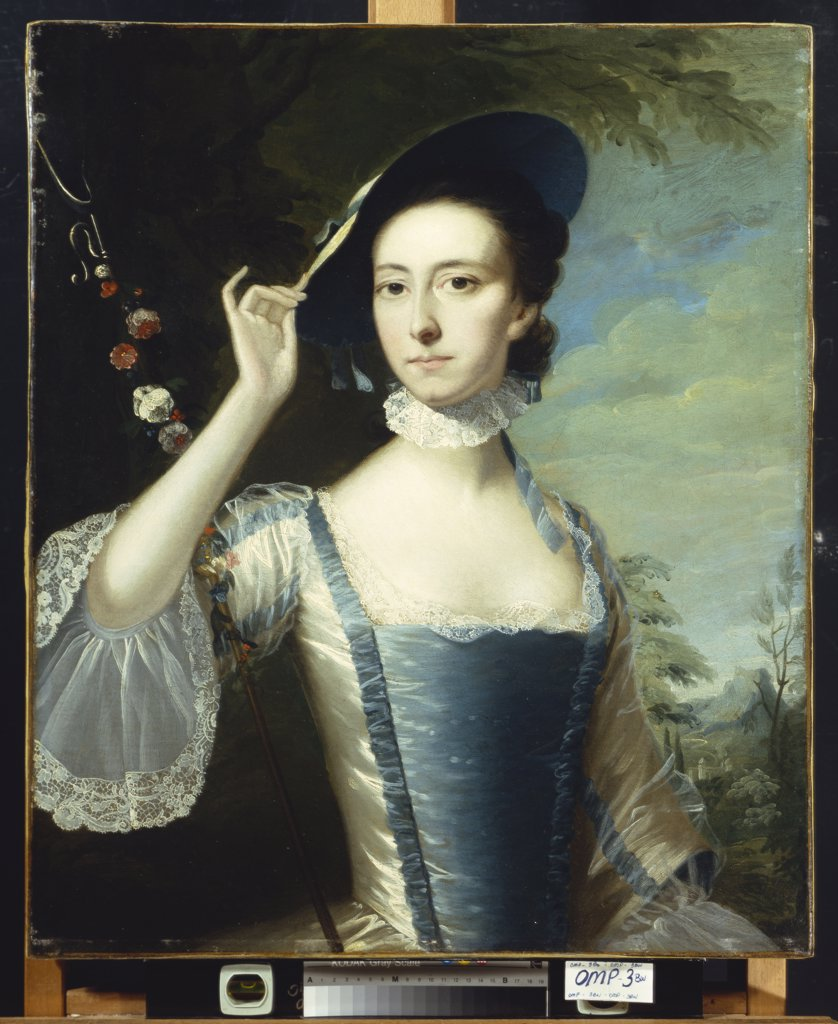 Stock Photo: 866-7875 Portrait of a Lady, in a Blue and White Dress, Trimmed with Ribbons, and a Straw Hat with Blue Ribbons, by a Garland of Flowers, in a Landscape.  Joseph Wright of Derby, A.R.A. (1734-1797). Oil on canvas, 76.2 x 63.5cm.