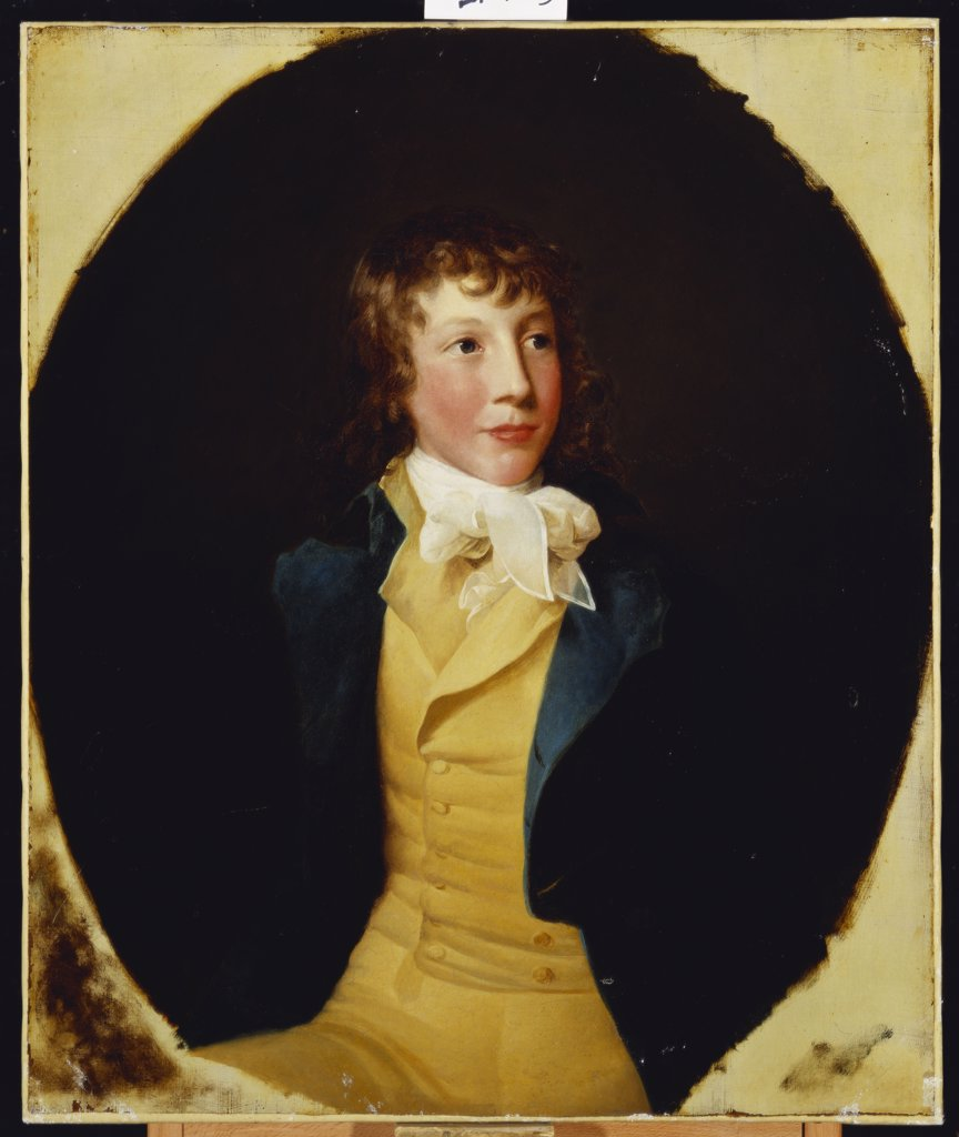 Stock Photo: 866-7879 Portrait of John Rice, in a Blue Coat and Yellow Waistcoat. G.P. Barbier (fl.1792-95). Oil on oval canvas, 76 x 63.5cm.